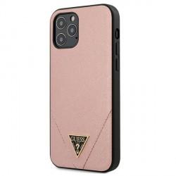 GUESS iPhone 12 Pro Max 6,7 Hülle Saffiano PU Leder Rose GUHCP12LVSATMLPI