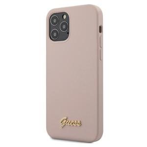 "Guess iPhone 12 / 12 Pro 6,1"" Hülle Silikon Logo Rose GUHCP12MLSLMGLP"