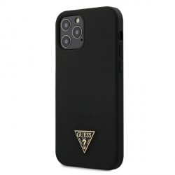 Guess iPhone 12 / 12 Pro 6,1 Hülle / Cover / Case / Etui Silicone Triangle schwarz