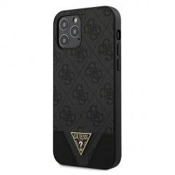 GUESS iPhone 12 / 12 Pro 6,1 Hülle 4G Triangle PU Leder grau GUHCP12MPU4GHBK