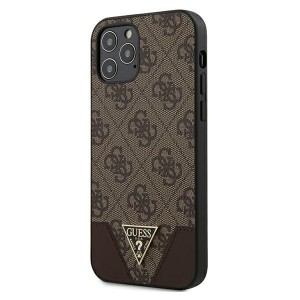 GUESS iPhone 12 / 12 Pro 6,1 Hülle 4G Triangle PU Leder braun GUHCP12MPU4GHBR