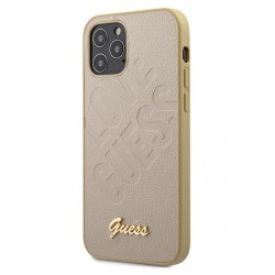 GUESS iPhone 12 / 12 Pro 6,1 Hülle Iridescent Love Gold GUHCP12MPUILGLG