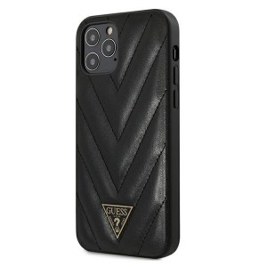 GUESS iPhone 12 / 12 Pro 6,1 Hülle V-Quilted Schwarz GUHCP12MPUVQTMLBK