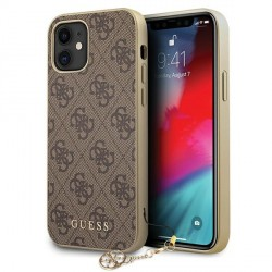 GUESS iPhone 12 mini 5,4 Hülle 4G Charms PU Leder braun GUHCP12SGF4GBR