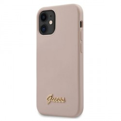 GUESS iPhone 12 mini Hülle / Cover / Case / Silikon Script Logo Gold Rose