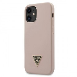 "Guess iPhone 12 mini 5,4"" Hülle Silicone Triangle Rose GUHCP12SLSTMLP"