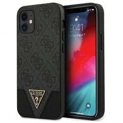 GUESS iPhone 12 mini 5,4 Hülle 4G Triangle PU Leder grau GUHCP12SPU4GHBK