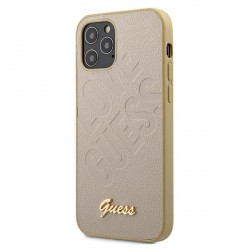 GUESS iPhone 12 mini 5,4 Hülle Iridescent Love Gold GUHCP12SPUILGLG