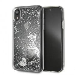 Guess iPhone XR Hülle Glitter Hearts silber GUOHCI61GLHFLSI