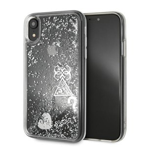 Guess iPhone XR Hülle Glitter Hearts silber GUOHCI61GLHFLSI