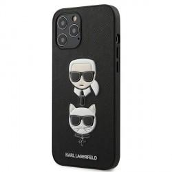 Karl Lagerfeld iPhone 12 Pro Max 6,7 Hülle Ikonik Saffiano Karl & Choupette Head