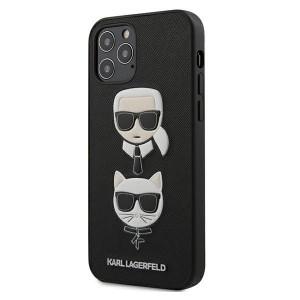 Karl Lagerfeld iPhone 12 / 12 Pro 6,1 Hülle Ikonik Saffiano Karl & Choupette Head