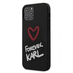 Karl Lagerfeld iPhone 12 / 12 Pro 6,1 Hülle / Cover / Case Silikon Forever Karl schwarz