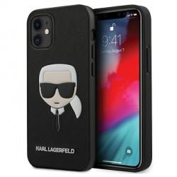 Karl Lagerfeld iPhone 12 mini Hülle Ikonik Karl Head Saffiano schwarz KLHCP12SSAKHBK
