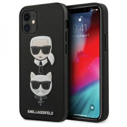Karl Lagerfeld iPhone 12 mini 5,4 Hülle Ikonik Saffiano Karl & Choupette Head