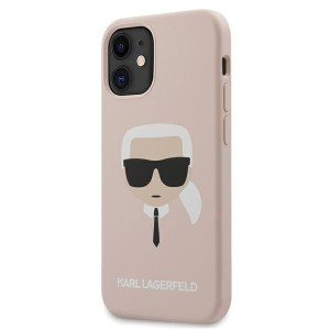 Karl Lagerfeld iPhone 12 mini 5,4 Hülle Silikon Head rose KLHCP12SSLKHLP