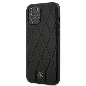 Mercedes iPhone 12 Pro Max 6,7 Lederhülle Wave Line schwarz MEHCP12LMULBK