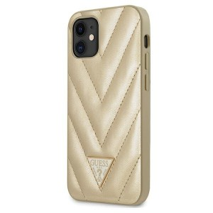 Guess iPhone 12 mini 5,4 Hülle V-Quilted Gold GUHCP12SPUVQTMLBE