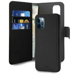 Puro iPhone 12 / 12 Pro 6,1 Wallet Book Tasche + Hülle 2in1 Schwarz