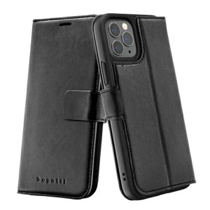 Bugatti iPhone 12 / 12 Pro 6,1 Ledertasche / Book Cover Zurigo schwarz