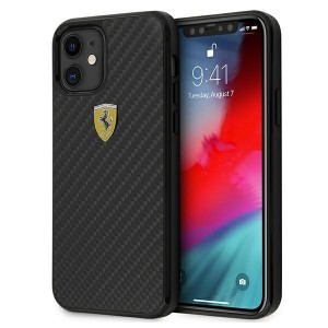 Ferrari iPhone 12 mini 5,4 Echt Carbon Hülle FERCAHCP12SBK