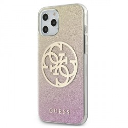 Guess iPhone 12 Pro Max 6,7 Hülle gold pink Glitter Gradient 4G Circle Logo