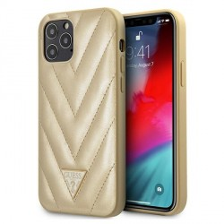 Guess iPhone 12 Pro Max 6,7 Hülle V-Quilted Gold GUHCP12LPUVQTMLBE