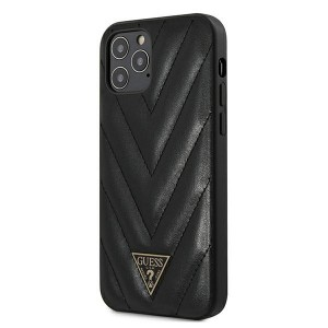 Guess iPhone 12 Pro Max 6,7 Hülle V-Quilted Schwarz GUHCP12LPUVQTMLBK
