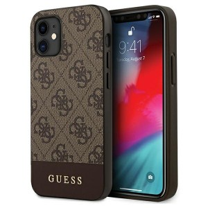 GUESS iPhone 12 mini 5,4 Hülle 4G Stripe PU Leder braun GUHCP12SG4GLBR