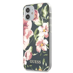 Guess iPhone 12 mini 5,4 Hülle N3 Flower Collection Navy GUHCP12SIMLFL03