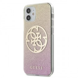 Guess iPhone 12 mini 5,4 Hülle gold pink Glitter Gradient 4G Circle Logo