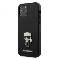Karl Lagerfeld iPhone 12 Pro Max 6,7 Hülle Saffiano Ikonik Metal Schwarz