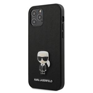 Karl Lagerfeld iPhone 12 Pro Max 6,7 Schutzhülle Saffiano Ikonik Metal Schwarz