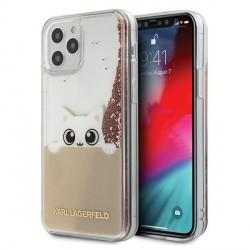 Karl Lagerfeld iPhone 12 Pro Max 6,7 Hülle PEEK A BOO Liquid Glitter pink gold