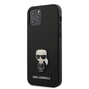 Karl Lagerfeld iPhone 12 / 12 Pro 6,1 Schutzhülle Saffiano Ikonik Metal Schwarz
