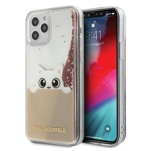 Karl Lagerfeld iPhone 12 / 12 Pro 6,1 Hülle PEEK A BOO Liquid Glitter pink gold