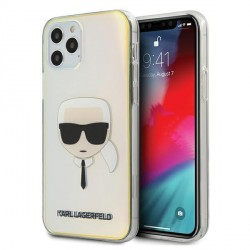 Karl Lagerfeld iPhone 12 / 12 Pro 6,1 Hülle Multicolor Iridescent Karl`s Head