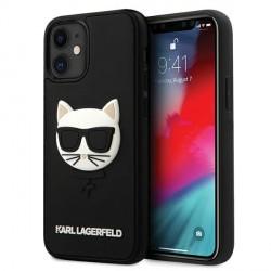 Karl Lagerfeld iPhone 12 mini Hülle / Cover / Case 3D Rubber Choupette Schwarz