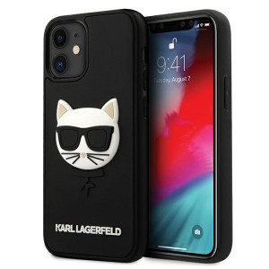 Karl Lagerfeld iPhone 12 mini Hülle / Cover / Case 3D Rubber Choupette Schwarz