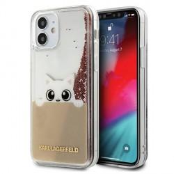 Karl Lagerfeld iPhone 12 mini 5,4 Hülle PEEK A BOO Liquid Glitter pink gold