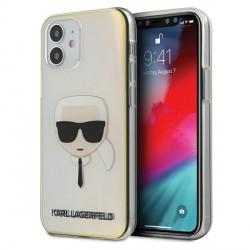 Karl Lagerfeld iPhone 12 mini 5,4 Hülle Multicolor Iridescent Karl`s Head