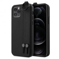 Mercedes iPhone 12 / 12 Pro 6,1 Lederhülle Strap Line + Ring MEHCP12MLSSBK