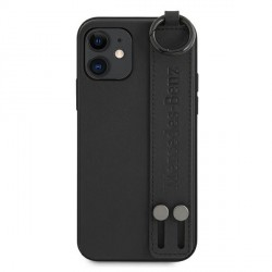 Mercedes iPhone 12 mini 5,4 Lederhülle / Cover / Case / Etui Strap Line + Ring
