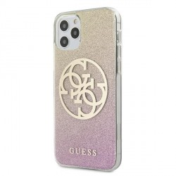 Guess iPhone 12 / 12 Pro 6,1 Hülle gold pink Glitter Gradient 4G Circle Logo