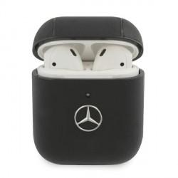 Mercedes AirPods 1 / 2 Echtleder Cover / Case / Hülle schwarz