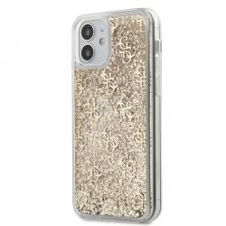 Guess iPhone 12 mini Hülle Gradient Liquid Glitter 4G Gold GUHCP12SLG4GSLG