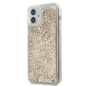 Guess iPhone 12 mini Hülle Gradient Liquid Glitter 4G Gold GUHCP12SLG4GSLG
