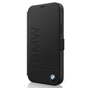 BMW iPhone 12 / 12 Pro 6,1 Ledertasche Signature Logo Imprint BMFLBKP12MSLLBK