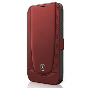 Mercedes iPhone 12 mini 5,4 Ledertasche Rot Urban Line MEFLBKP12SARMRE
