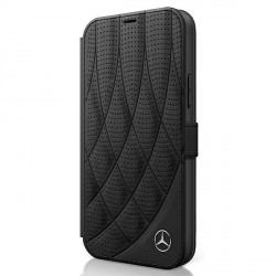 Mercedes iPhone 12 mini 5,4 Ledertasche schwarz Bow Line MEFLBKP12SDIQBK